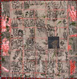 Jakkai Siributr 2006 fabrics, acrylic, and mixed media on canvas 150 x 150 cm