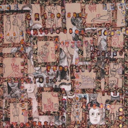 MANNERIST 2006 mixed media and thai silk on canvas 157 x 157 cm