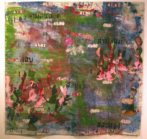 allmighty baht 2005 . 150 x 150 cm. thai silk . commercial fabric . canvas . felt . acrylic and pigment